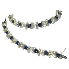Lisner 2 Piece Set Blue and White Rhinestones Necklace and Bracelet