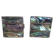 Pair of Square Cufflinks with Mother-of-Pearl on Silvertone