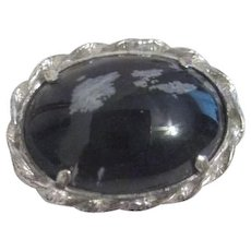 Stone Cabochon Pin in Sterling Silver Frame