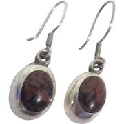 Pair of Sterling Silver Earrings for Pierced Ears with Black and Brown Stone Made in Mexico