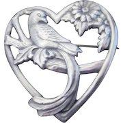 Sterling Silver Truart Brooch Love Bird in Heart Brooch