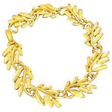 Napier Goldtone Leaf Link Bracelet