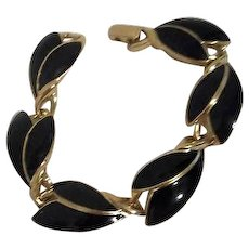 Trifari Black Enameled with Goldtone Trim Bracelet