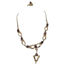 Goldtone Necklace and Ring with Garnet and Rhinestones