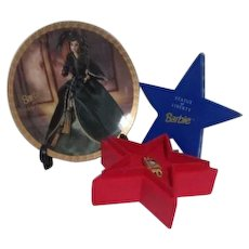 Barbie Statue of Liberty Watch in Star Box with Barbie as Scarlett O'Hara Plate
