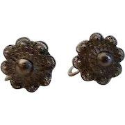 Sterling Silver Filigree Screw-on Earrings from Siam