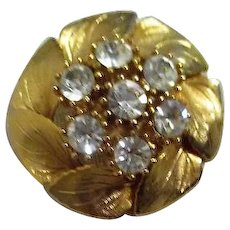 Goldtone Brooch with Circlet of Leaves and Large Clear Rhinestones