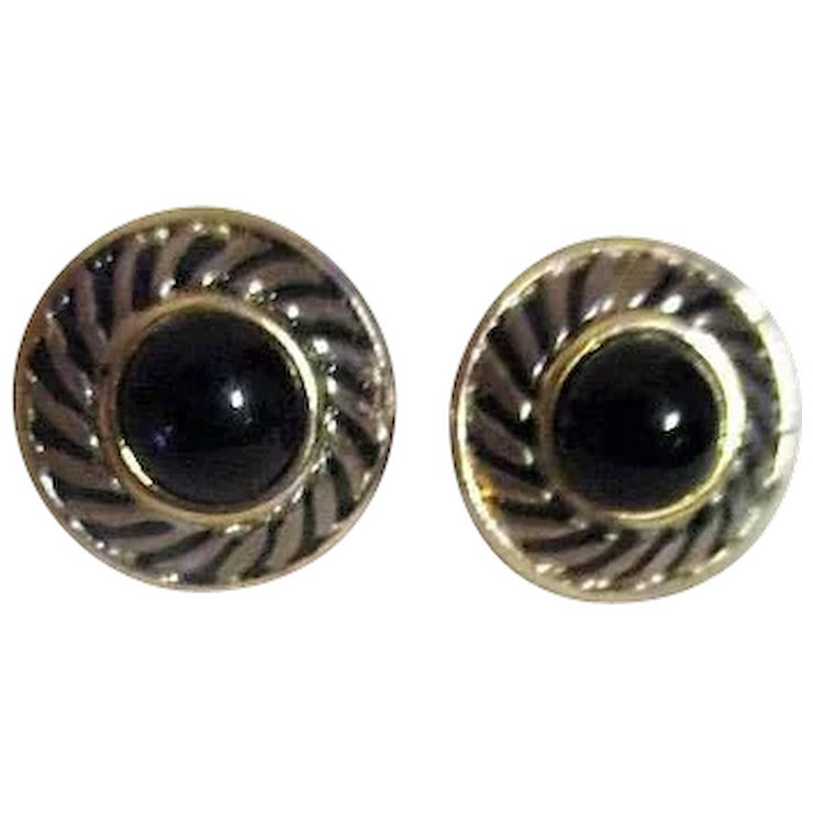 6048443e9cb Pair of Small Round Black and Goldtone Clip-on Earrings   Something  Wonderful