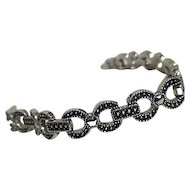 Silvertone and Marcasite Chain Pattern Bracelet