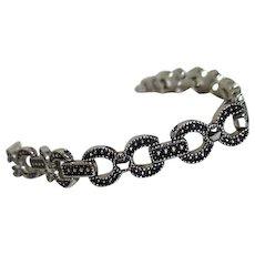Silvertone and Marcasite Chain Pattern Bracelet