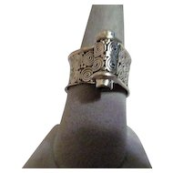 Sterling Silver Scroll Ring with Small Amethysts