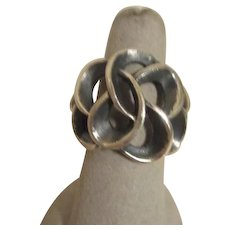 Sterling Silver Ring with Antique Finish Inside Conjoined Circles