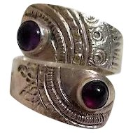 Sterling Silver Ring with Amethyst and Garnet