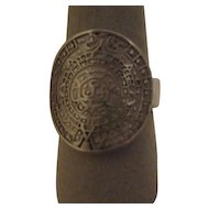 Sterling Silver Ring with Picture of Mayan Calendar