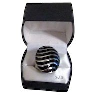Silvertone and Black Large Ring