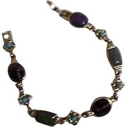 Semi-Precious Gemstones on Sterling Silver Bracelet