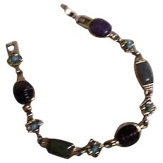 Semi-Precious Gemstones on Sterling Silver Bracelet