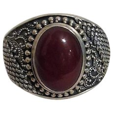 Large Solid Bracelet Intricate Sterling Silver Design Carnelian Cabochon Indonesia