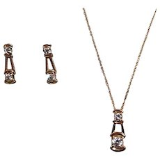 Lindenwold Fine Jewelry Set Goldtone Necklace and Clip earrings with Prong Set Crystals