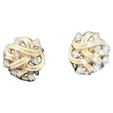 Trifari Goldtone Clip-on Earrings with Clear Rhinestones