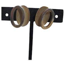 Trifari Goldtone Clip-on Earrings 3-D Design