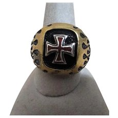 Men's Sterling Silver Ring with Maltese Cross