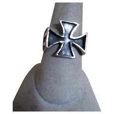 Sterling Silver Ring with Maltese Cross and Lightening Bolts