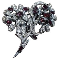 Duette Brooch & Fur Clips Flower Motif with Clear and Purple Rhinestones
