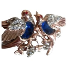 Coro Duette Brooch and Dress or Fur Clips Blue Love Birds