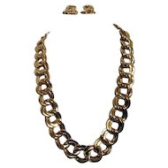 Goldtone Large Chain Pattern Necklace and Earrings for Pierced Ears