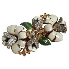 Coro Duette Brooch and Dress or Fur Clips Floral Pattern