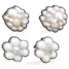 Two Pair of Japanese Faux Pearls and Rhinestone Clip-on Earrings