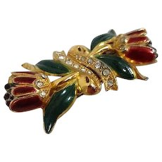 Coro Duette Fur Clips Brooch with Red Enamel Tulips