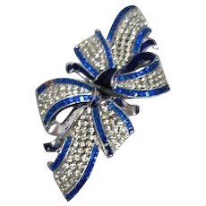 Coro Duette Brooch & Fur Clip  Blue and Clear Ribbon and Bow