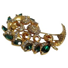 Eisenberg Original Large Gold Plated Fur Clip with Emerald and Clear Rhinestones