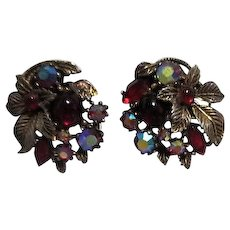 Red Glass and Rhinestone with Brass Leaves Clip-on Earrings