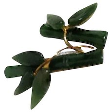 Jade Bamboo and Leaves with Goldtone Brooch/Pin