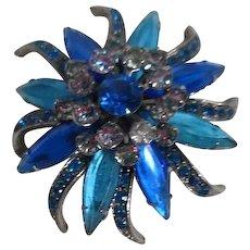 Shades of Blue Star Burst Flower Brooch