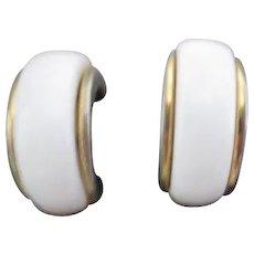 Pair of Monet White on Gold Clip-on Earrings