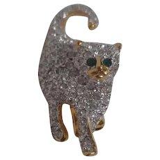 Rhinestone Cat Pin/Brooch with Green Eyes