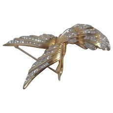 Marcel Boucher Flying Bird Brooch Gold Wash with Rhinestones on Feathers