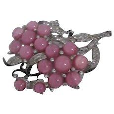 Pink Moonstone Flower Brooch/Pin with Rhinestone studded Leaves Black Enamel Trim