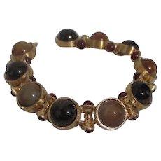 Monet Goldtone Bracelet with Glass Cabochones