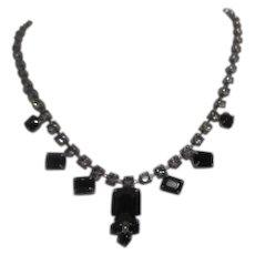 Rhinestone Necklace with Prong Mounted Black Pendants