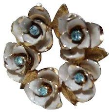Coro Flower Wreath Brooch Blue Stones White Goldtone