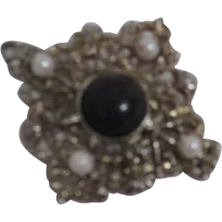 Pendant Pin with Black Stone and Faux Pearls Gold Tone Filigree