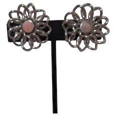 Coro Silvertone Screw-on Earrings Floral Pattern