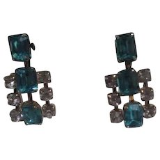 Unsigned Blue & White Rhinestone Screw-on Earrings