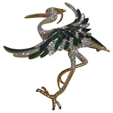 Large Rhinestone and Enamel Japanese Crane or Heron Pin/Brooch