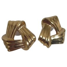 Monet Goldtone Pierced Earrings Bold Ribbon Triangle